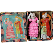 Darling c1940s Japan Bisque Doll Pair in Orig Box!