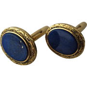Opulent 19K Gold Lapis Cuff Links 19.9 grams