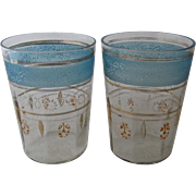 Two Victorian Tumblers Water Glasses w/ Enamels & Gilt