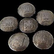 Set 6 Peruvian Sterling Buttons Pre-Inca Sun God Designs