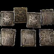 Set 7 Peruvian Sterling Buttons Rectangular Pre-Inca  Designs