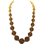 """Big Chunky Faceted Amber Glass Bead Necklace 18.5"""""""