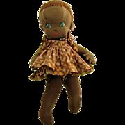 """African Black Jamaican Cloth Doll w/ Blue Eyes Light Skin 15"""""""