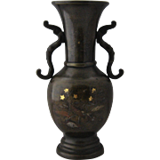 Meiji Period Japanese Bronze Vase w/ Mixed Metals Inlay