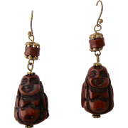 "Vintage African ""Amber"" Buddha Figural Earrings Gold Fill"