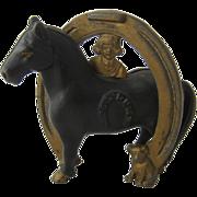 Buster Brown Good Luck Horse Shoe Cast Iron Bank
