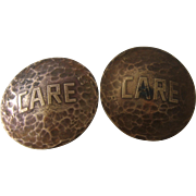 Pair Large Hammered Copper Collar or Lapel Buttons Sears Central Pacific Group