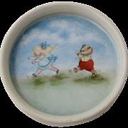 Ca 1930 Child's Plate Juvenile Bowl Artist Painted Goldilocks & Bear