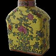Chinese Enameled Porcelain Square Bottle Yellow Vase Peonies Signed