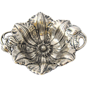 """1902 Reed & Barton """"Clematis"""" Sterling Nut Dish"""