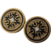 Victorian  14k Taille d' Epergne Enamel Collar Buttons Pin