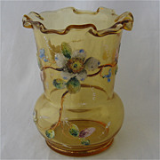 Late 1800s Coralene Amber Blown Glass Vase w/ Flowers