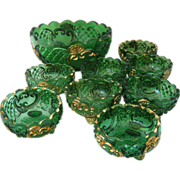 1897 Croesus Berry Bowl & 8 Small Bowls Emerald Glass