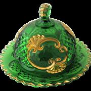 1897 Croesus  Butter Dish Emerald Green Gold Riverside EAPG