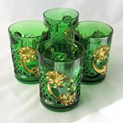 1897 Croesus Tumbler Emerald Green Gold Riverside EAPG