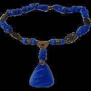 Ca 1930 Czech Necklace Blue Swirl Glass Filigree Links