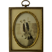 1920s Easel Gilded Brass Frame w/ Oval Glass & Period Photo