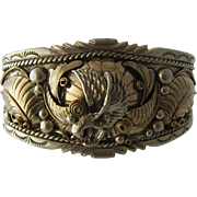 Navajo Sterling Gold Wash Eagle Cuff Eddie McCarthy 6 1/2""