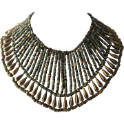1970s Egyptian Bib Necklace Faience Brass Beads