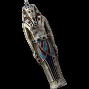 Egyptian Revival Silver Enamel Pharoah Propelling Pencil Fob
