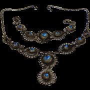 1930s Filigree Necklace & Bracelet Silver Plated Blue Glass
