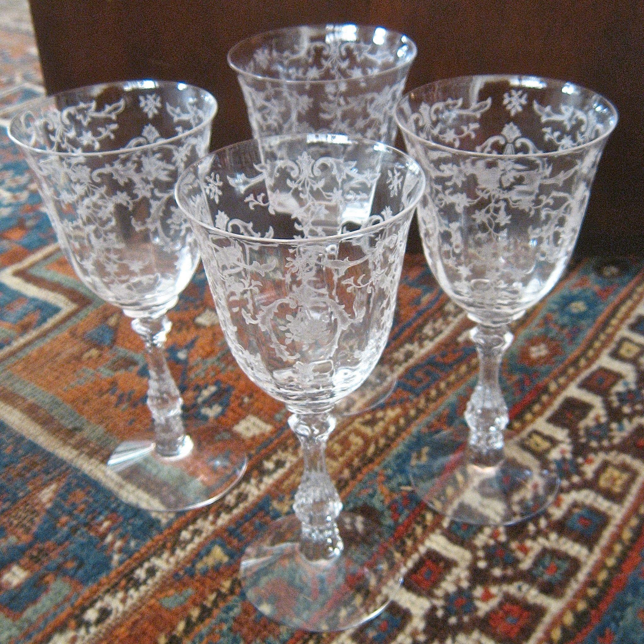 Set 4 Fostoria Quot Navarre Quot Etched Crystal Water Glasses