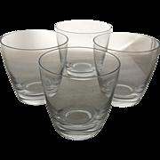 4 Fostoria Elegant Crystal Low-balls Old Fashioned Glasses Signed