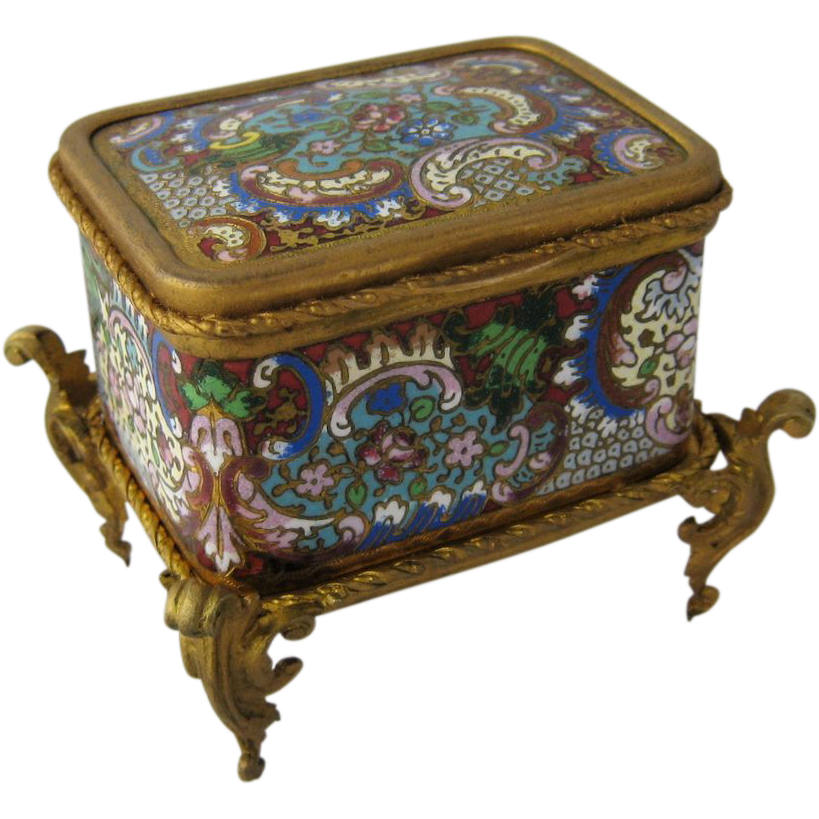 French Champleve Jewelry Casket Box Ormolu Mounts Jewel Colors