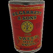 Vintage Garrett & Sons Sweet Snuff in Jar Tin Lid Sealed