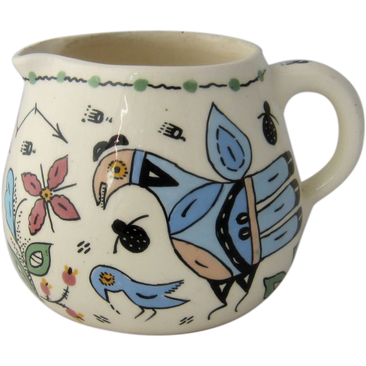 1977 Genevieve Golsh  Pottery Pitcher Birds Hand Painted