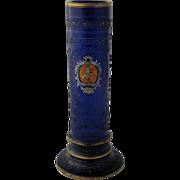SOLD Antique Bavarian Cobalt Glass Vase Cut Gilt Enamel Crest