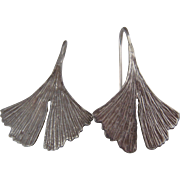 Sterling Silver Ginkgo Leaf Earrings Naturalistic