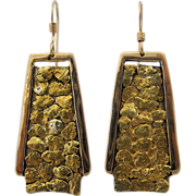 Big 14K Alaskan Gold Nugget Drop Earrings