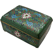 SALE PENDING Early 1900s Chinese Green Cloisonne Trinket Cigarette Box Excellent
