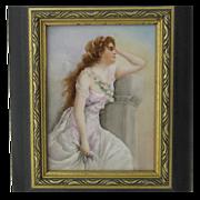 Painted Limoges Porcelain Tile Plaque Beautiful Woman