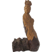 Chinese Wood Root Carving He Xiangu Figure Immortal