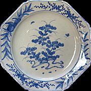 Edo Period Imari Sometsuke Blue White Octagonal Porcelain Charger Bowl