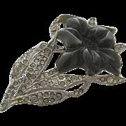Art Deco Bakelite Lily Flower Pin Rhinestones