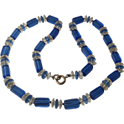 1960s Electric Blue & Crystal Square Beads & Rondelles Necklace