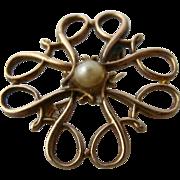 Ca 1950s Avon 10 K Pearl Knot Swirls Award Pin