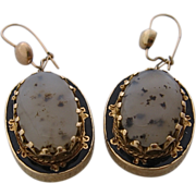 Victorian 18K Agate Enamel Drop Earrings w/ 10K Wires