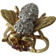 Vintage 14K Diamond Encrusted Bee Ring Ruby Eyes Sz 7