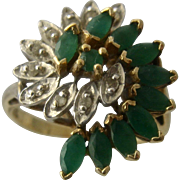 10K Emeralds & Diamonds Bypass Swirls Cocktail Ring Sz 5.5