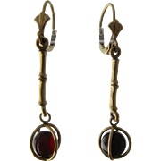 14K Garnet Ball in Cage Dangle Lever Back Earrings