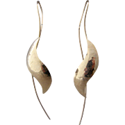 14K Hammered Gold Leaf Swirl Earrings Long Hook