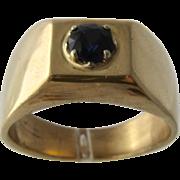 Ca 1950 Heavy Mens 14K  Sapphire Ring Size 10 3/4