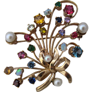 Spectacular 14K Multi Gemstones Bouquet Pin Ca 1950
