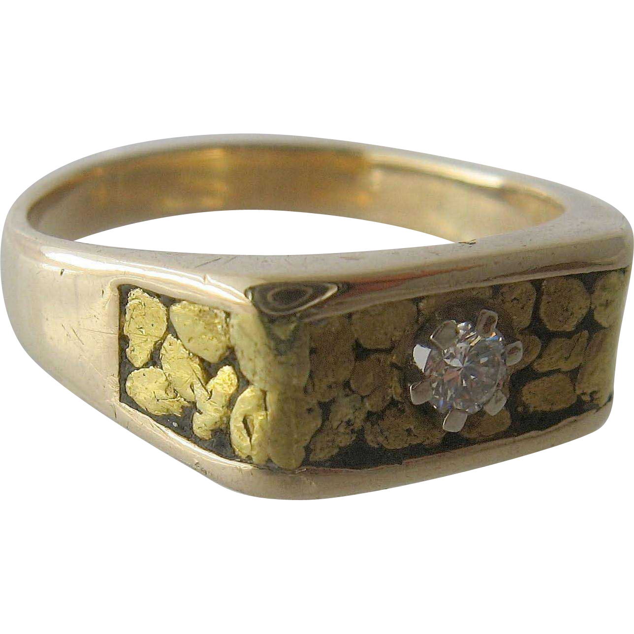 14k Gold Nuggets Amp Diamond Mens Ring Sz 10 5 Mid 1900s