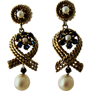 Long 14K Dangle Earrings w/ Sapphires & Pearls Maritime Theme