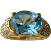 14K Blue Topaz Pave Diamonds Cocktail Ring Size 3 1/2